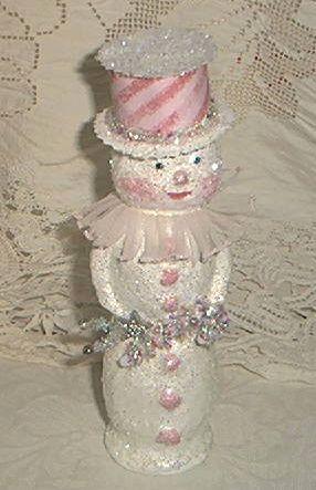 glittery pink snowman clown
