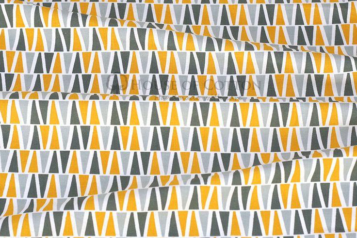 Algodón - Gray & yellow triangles cotton fabric - hecho a mano por houseofcotton en DaWanda