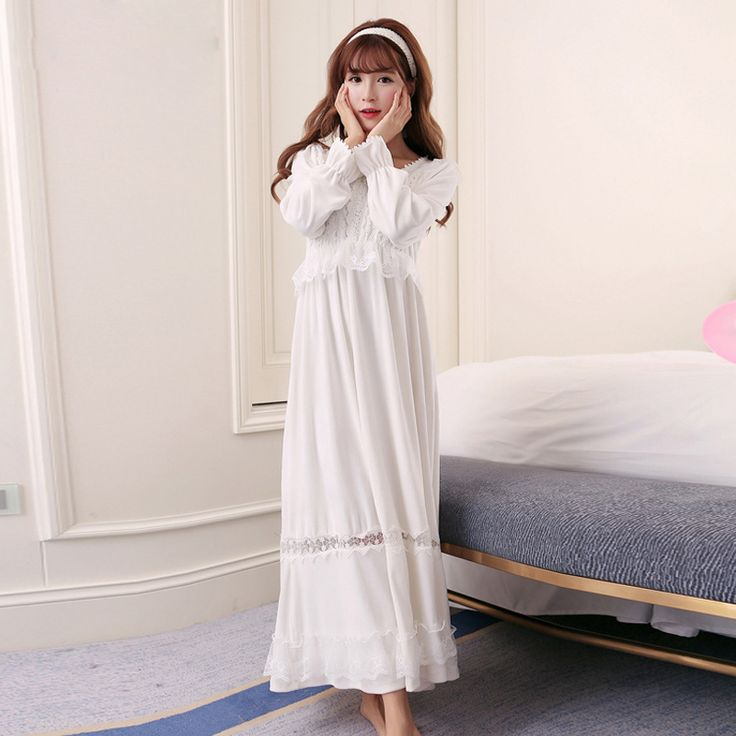 Winter New 100% Cotton Silver Fox Velvet Princess Nightdress Women's Long Nightgown White and Pink Sleepwear camisolas de dormir