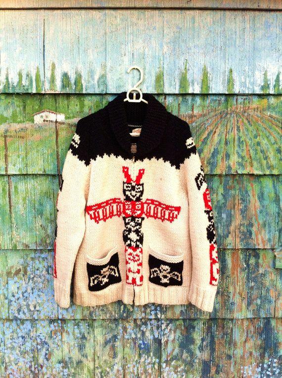 Amazing Vintage 1950's Wool Cowichan Sweater by ElliottBayVintage, $258.00