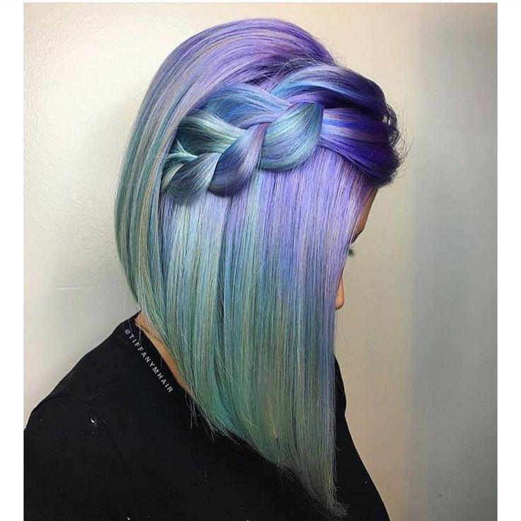 Braid Hairstyles Magenta and Green Short braid – young girl sheet models