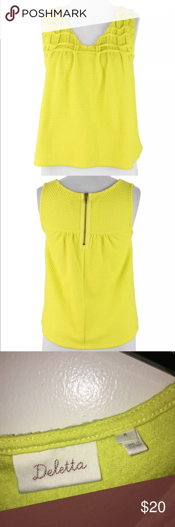 Anthropologie Deletta Yellow Textured Smock Tank EUC. Textured and stretchy swing tanktop in bold yellow. Zip up back of neck.  Very comfortable.  No stains. No rips. Anthropologie Tops Tank Tops