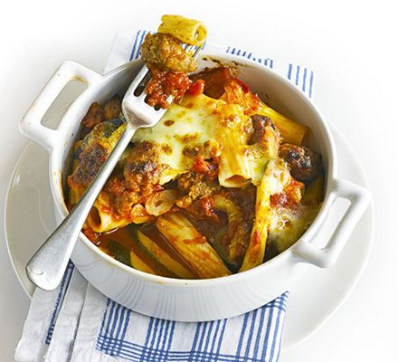 This thrifty and comforting pasta bake for two is made with a punchy garlic and chilli spiked tomato sauce, then topped with mozzarella
