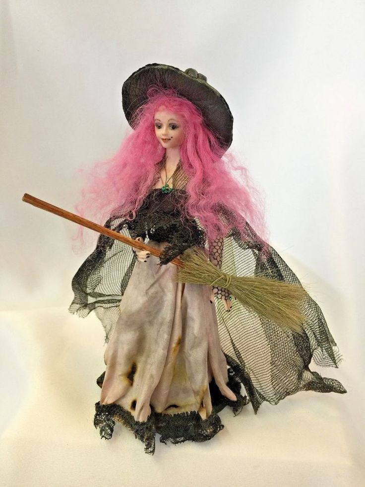 Dollhouse Miniature Artist Mary Kinloch Porcelain Witch with Pink Hair…