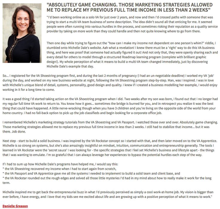Awesome success story from Danielle Greason http://www.thevaroadmap.com
