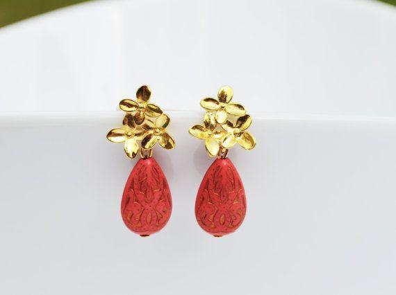 CLEARANCE SALE Gold Blossom Stud Earrings by EllaHandmadeUnuque