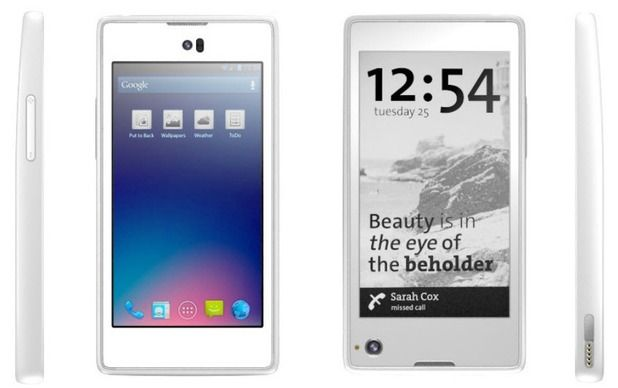 Yota is an 4.1 Jelly Bean Smartphone Android-powered Smartphone with an LCD display situated on one side, while an e-ink electronic paper display on the other.