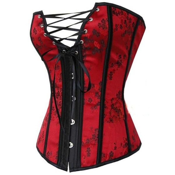 Loi.color Red Satin Chinese Style Floral Bustier Corset Lingerie... ($22) ❤ liked on Polyvore featuring corsets, tops and lingerie