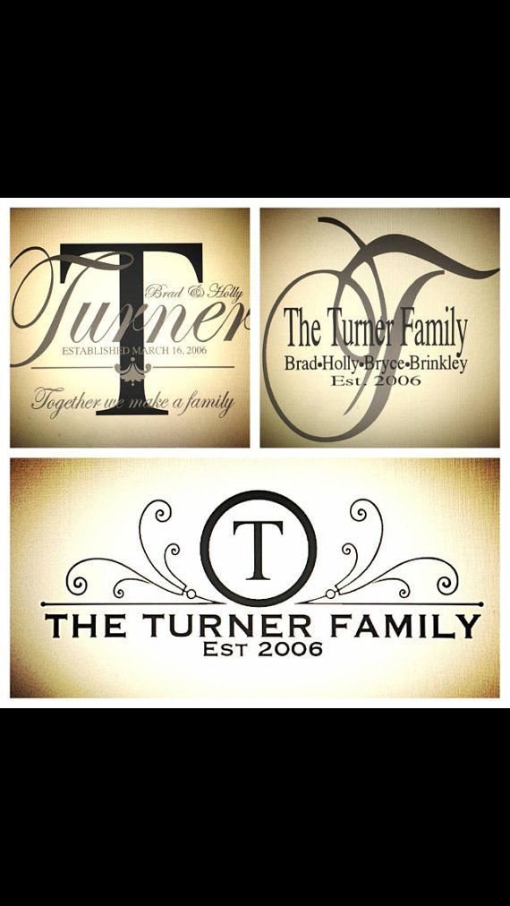 Family monograms to grace virtually any surface in your home. Place it on the wall , framed glass, a table....whatever you can think of. on Etsy, $20.00