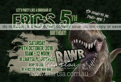 Dinosaur Dino-mite Childrens Birthday Invitations