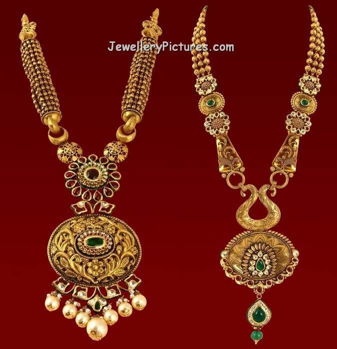 22 Carat Gold Long Chain Designs Have Been Preferred By Indian Antique Gold Jewelry Indian Gold Jewellery Design Necklaces Gold Necklace Indian Bridal Jewelry