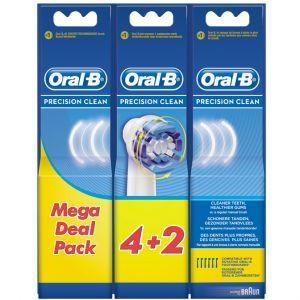 Oral-B Opzetborstels Precision Clean 6 stuks  Description: Oral-B Precision Clean Opzetborstels De Oral-B Precision Clean opzetborstel verwijdert meer plak dan een normale handtandenborstel zorgt voor een schone mond en gezond tandvlees. Geen wonder dat dit de best verkopende vervangende opzetborstel is.  Smalle komvorige borstel die zich om de tand voegt  Speciale zachte groene Precision Clean borstelharen geven mee  2 langere blauwe Interdental Tips reiken dieper tussen tanden en kiezen…
