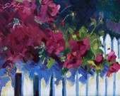 I can't remember a time when I didn't smile at someone else's flower boxes or garden planting's cascading over their picket fence. This artist nearly captured the fragrance.