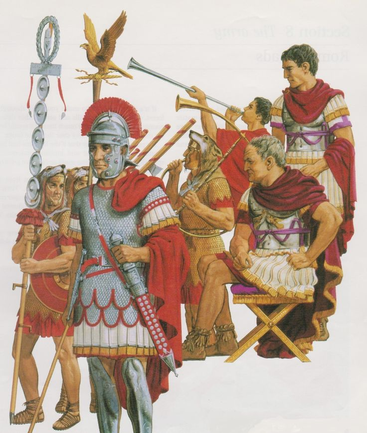 The Roman Emperor Vespasian Reviews his Officers by Peter Connolly (Centurion Signifier horn blower/user: Aethon)