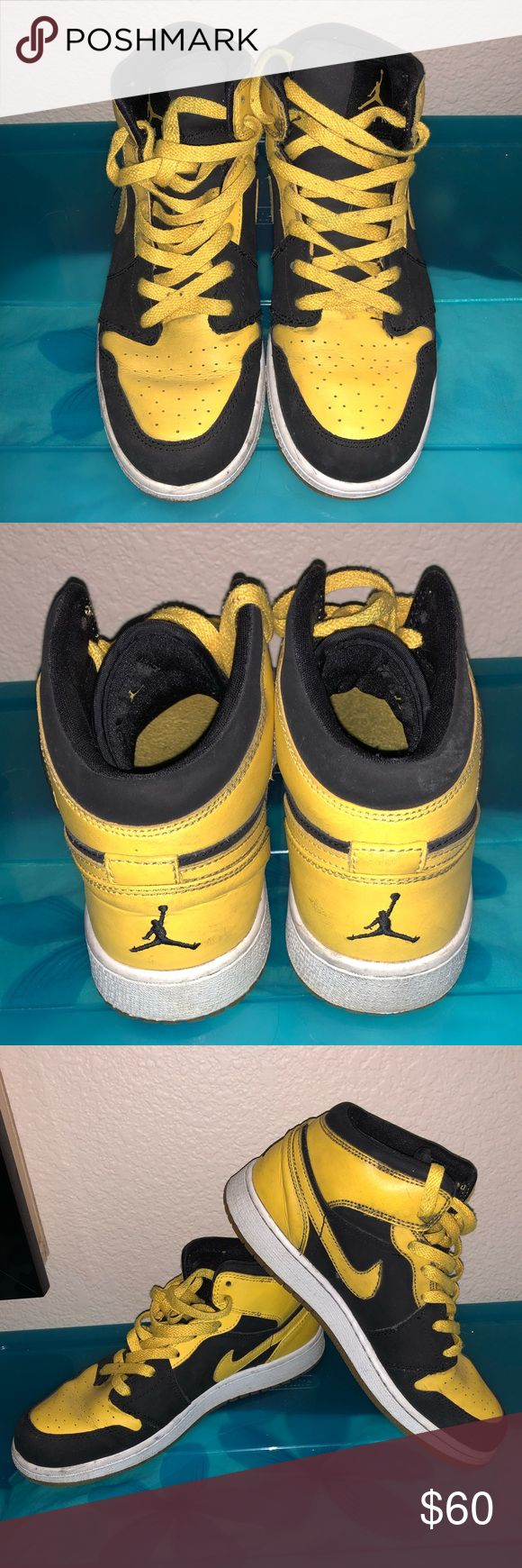 "Retro Jordan 1s ""New Love"" Size 6Y Used Retro Jordan 1s ""New Love"" Size 6Y. Yellow Leather/ Black Suede. Air Jordan Shoes Athletic Shoes"