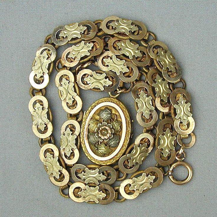 Victorian 9 Ct. Gold / Brass / Silver Fancy Locket on Superb Box Chain