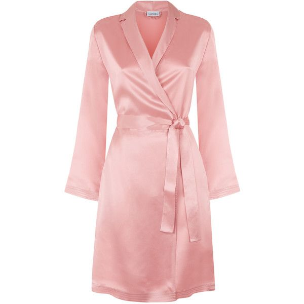 Powder pink silk short robe ($300) ❤ liked on Polyvore featuring intimates, robes, silk dressing gown, pink silk robe, short slip, pink robe and waist belts