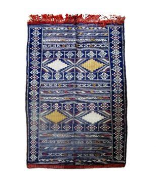 Saharashop - Marokkanischer Teppich 20 Kleim Blau 1,40 x 0,94 m