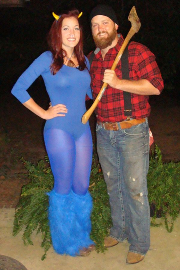 Clever and Creative- Paul Bunyan and Babe the Blue Ox DIY Halloween Costumes #Goodwill #DIY #Couples