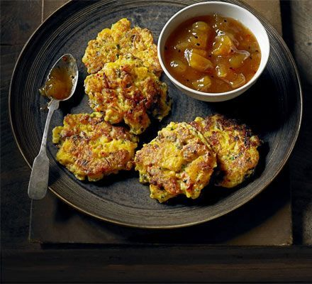 Spiced swede fritters _ The mild flavour of swede is a great vehicle for vibrant spices, so this twist on Indian vegetable pakoras really works.