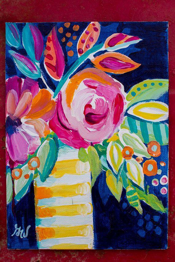 Florales abstractos siempre me han intrigado, me encanta el color, formas implícitas y extravagancia. Si has hecho clic en esto, usted probablemente hacer!  Estudio de abstractos flores Nº 01 pintura de acrílico Original. Este cuadro colorido muestra una Dalia y un arreglo de rosado en un florero rayado amarillo y blanco sobre un fondo azul intenso.   Título: Estudio de abstracto flores Nº 01  TAMAÑO: tablero de la lona de 5 x 7  FECHA de creación: Abril de 2016   Esta pintura consta de…