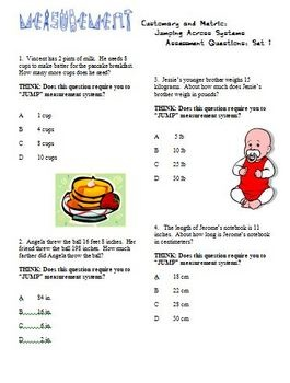 Metric to Customary Conversion 19 worksheets including multiple choice question sets (NC 5th grade EOG)