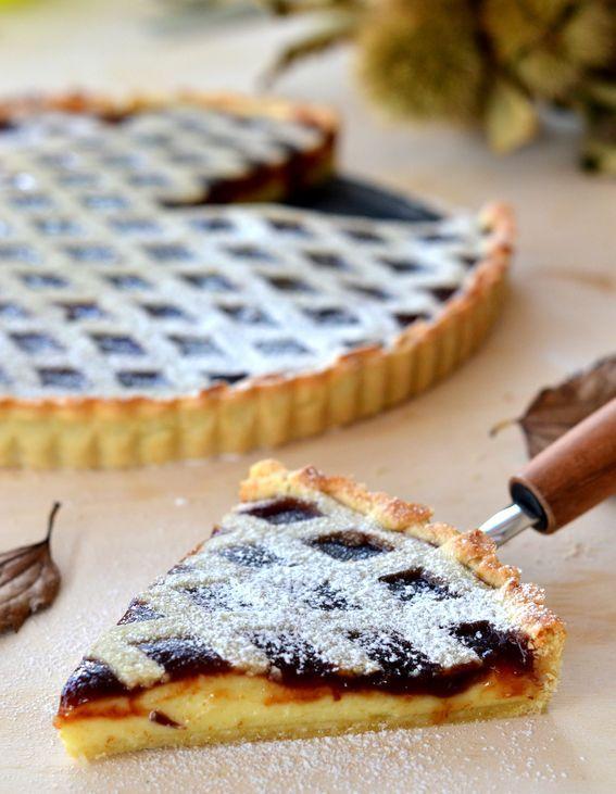 #Crostata con #confettura di castagne e crema pasticcera con #reticolo