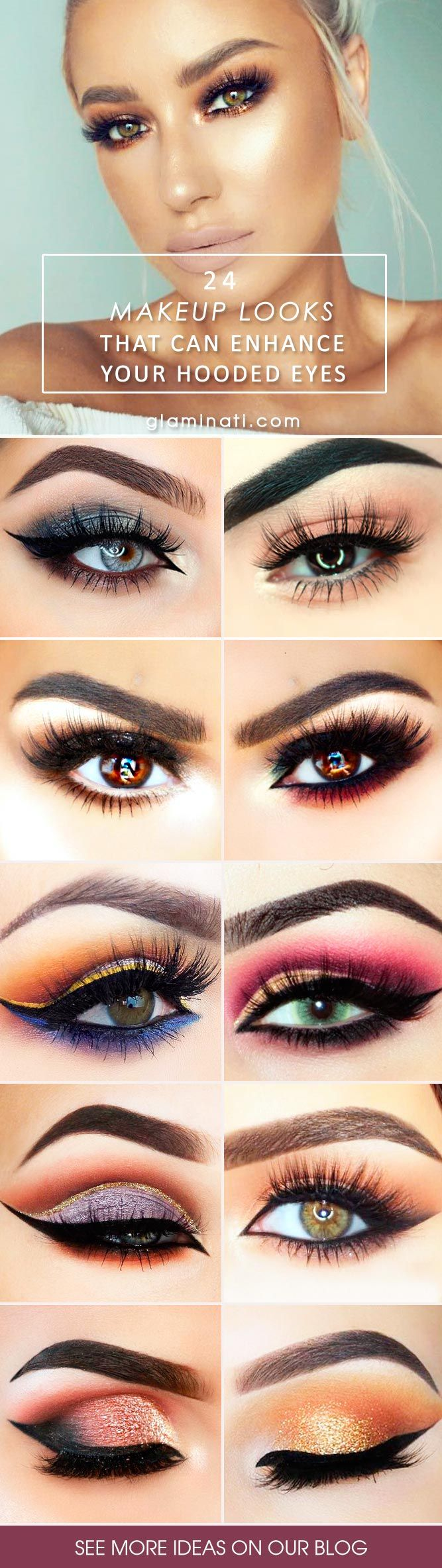 Hooded eyes are characterized by featuring an extra layer of skin   drooping over the crease. As a result, the lid appears much smaller.    So, if you are wondering how to enhance hooded eyes, you might want to   check some of the makeup ideas that can help your eyes look beautiful   anytime and anywhere. #makeup #makeuplover #hoodedeyes