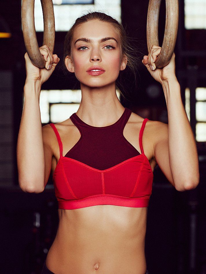 Fly Girl Bra | Picot Performance double layered active bra featuring Power Mesh.  Solid bottom layer has a racerback.