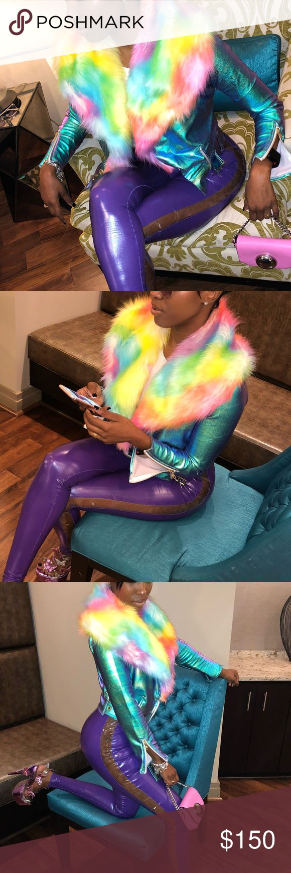 Hologram Fur Jacket Hologram. Colorful fur. Great stretch! Worn only ONCE! Jackets & Coats