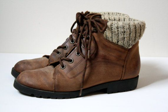 brown leather lace up hiking boots with sweater knit
