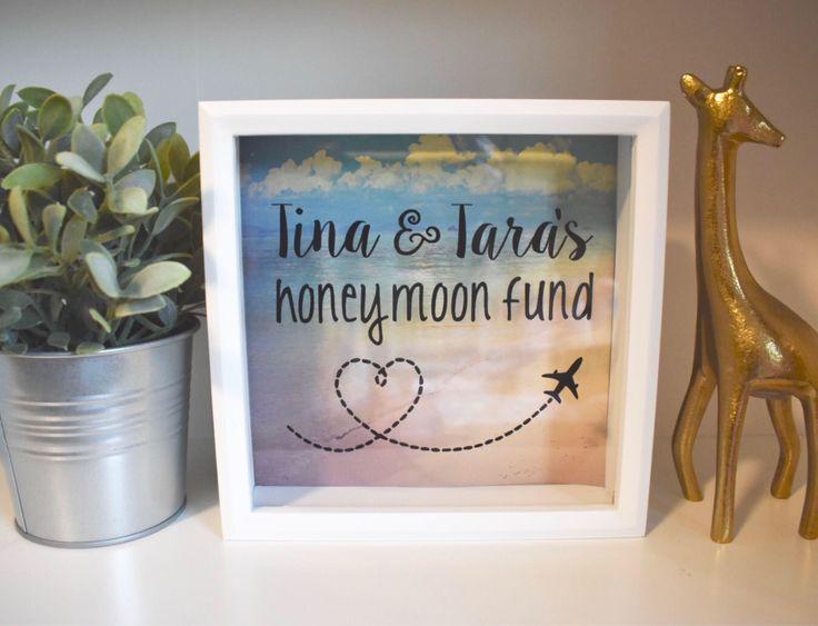 Personalized Honeymoon Savings Bank Tropical Getaway Bridal Shower Favor Engagement Gift Wedding Bride