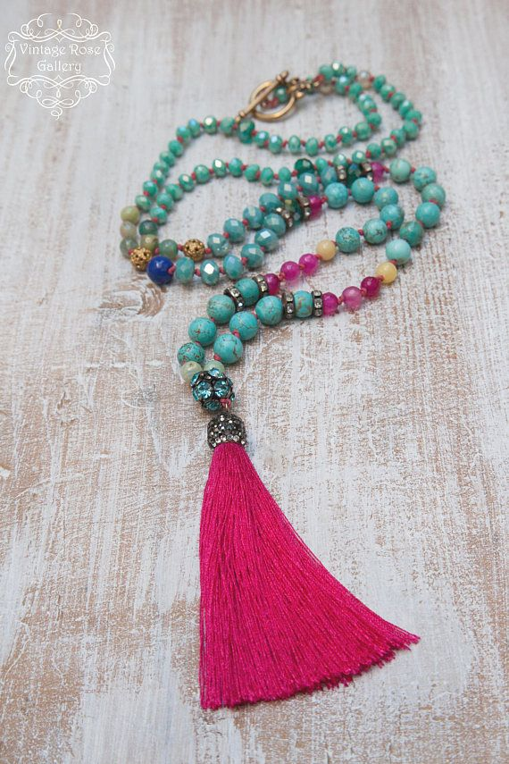 Silk Tassel Necklace,#VintageRoseGallery , #etsy Colourful Tassel Necklace, Turquoise Boho Chic Necklace, Turquoise - Hot Pink, Gift for her A Unique , beautiful, Colourful Hand knotted , Long Tassel Necklace . Features antique rhinestones, turquoise gemstones , hot pink agate faceted beads, yellow jade ,