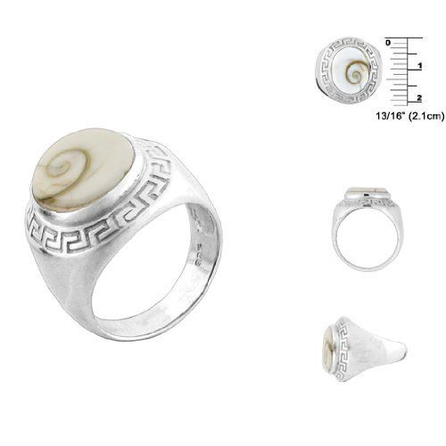 Greek Pattern Sterling Silver Ring with Oval Eye of Shiva Shell Inlay Avend Concepts rings. $32.95