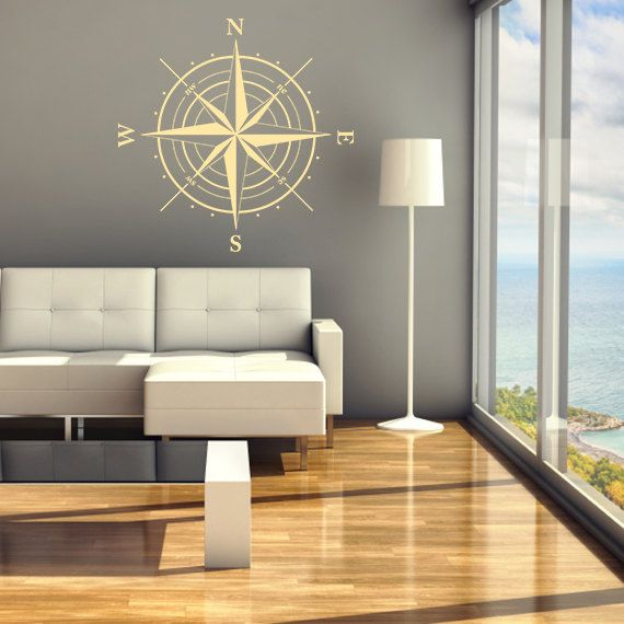compass rose decal home decor office decor vinyl sticker vinyl wall decals compass rose wall decor north south west east sign id29 p - Wall Vinyl Designs