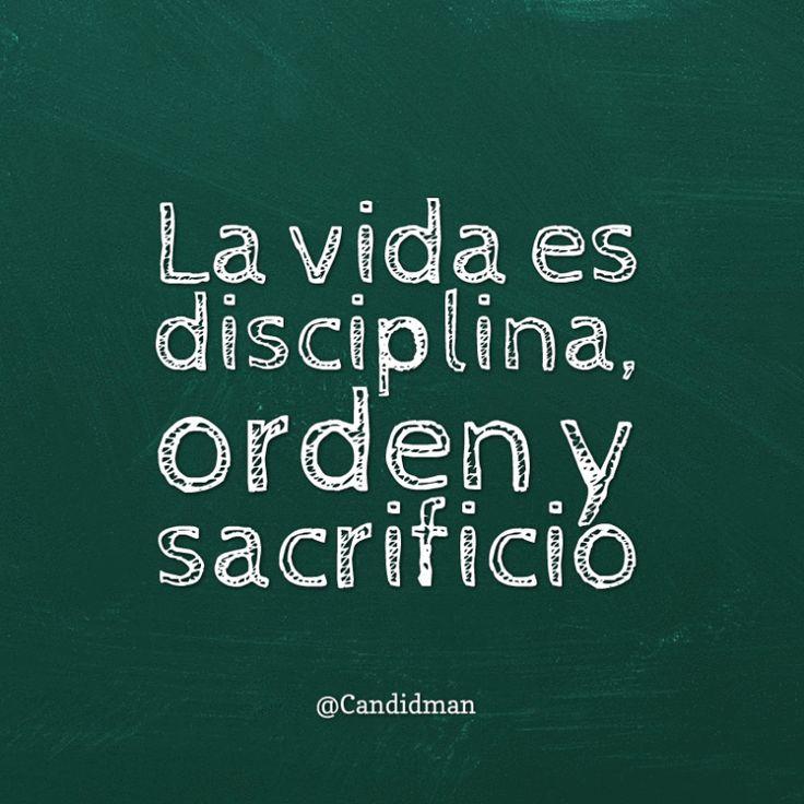 La vida es disciplina orden y sacrificio.  @Candidman     #Frases Candidman Reflexión Vida @candidman
