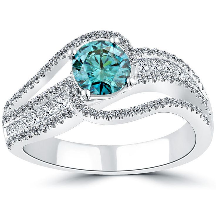 1.94 Carat Fancy Blue Diamond Engagement Ring 14k White Gold Vintage Style #LioriDiamonds #DiamondEngagementRing
