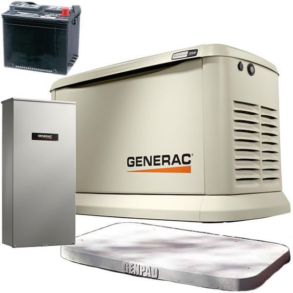 Generac Guardian Egd 70432kit A A 22kw Standby Generator System 200a Service Disconnect Ac Shedding W Wi Fi 4 Inch Hurricane Genpada Battery Home Backup Generator Standby Generators Transfer Switch