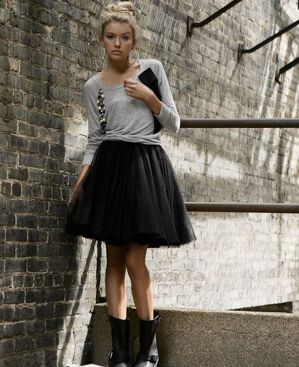 I really like the ballerina skirt look! Perfect contrast to a casual top