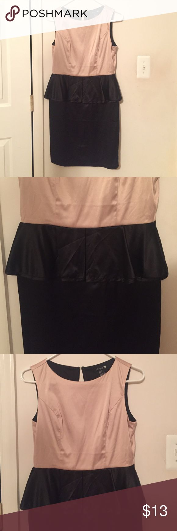 Light pink and black Peplum dress from F21 Not Zara. Worn a few times, no damage, great for cocktail and dress parties Forever 21 Dresses Midi