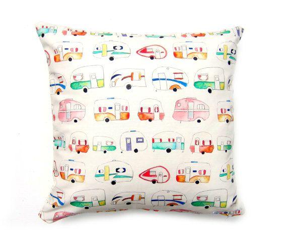Caravan Cushion Cover Pillow Unique Print by Emma Allard Smith