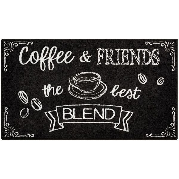 Nourison Accent Decor ''Coffee & Friends'' Rug ($55) ❤ liked on Polyvore featuring home, rugs, black, black rug, nourison, patterned rugs, nourison area rugs and nourison rugs