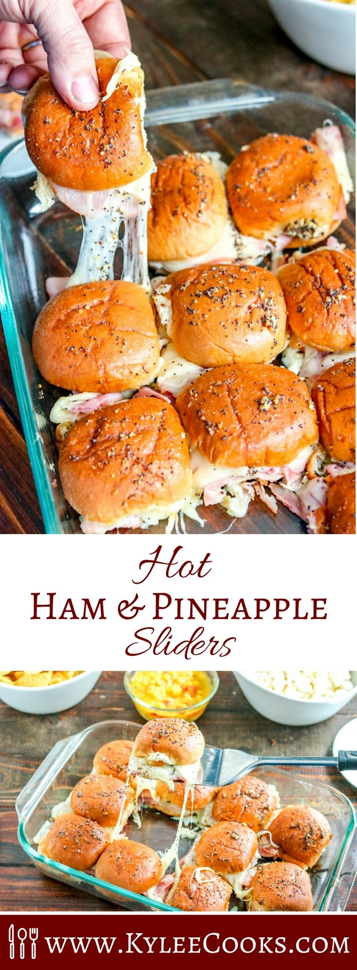 These EASY hot Ham and Pineapple Sliders are PERFECT for game day. Make a double batch to feed a crowd!   #ad #RespectTheBun #LittleBunsBigWin #BakedWithCare @PepperidgeFarm via @kyleecooks