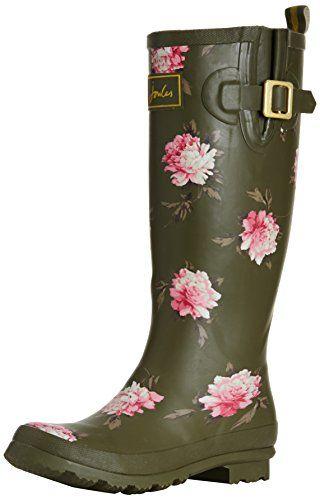 Joules Welly Print - Botas de goma para mujer marrón marrón, color verde,  talla