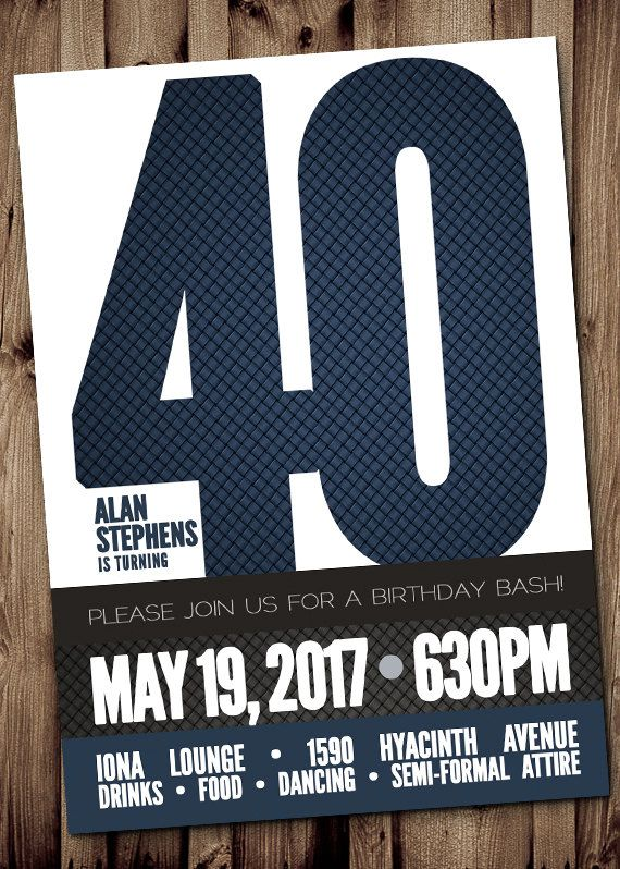 40th birthday wine invitation template