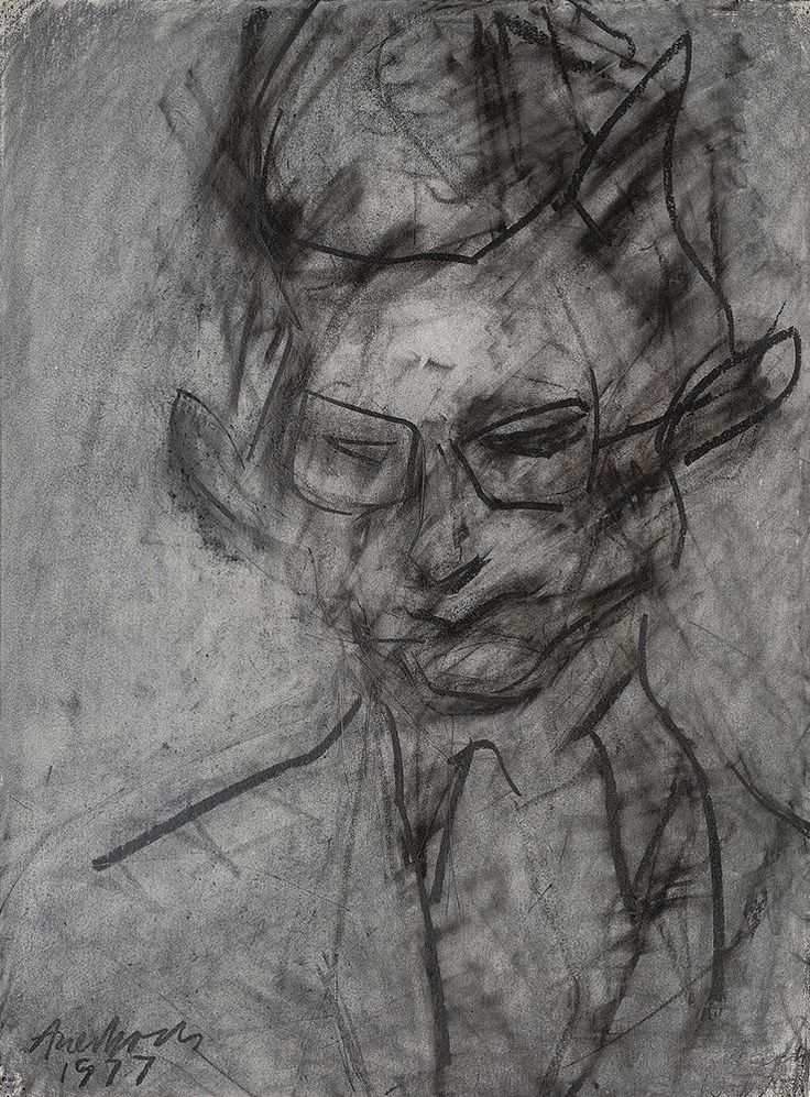 Frank Auerbach  PORTRAIT OF CHRISTOPHER DARK, 1977  chalk and charcoal on paper  29 x 22 inches