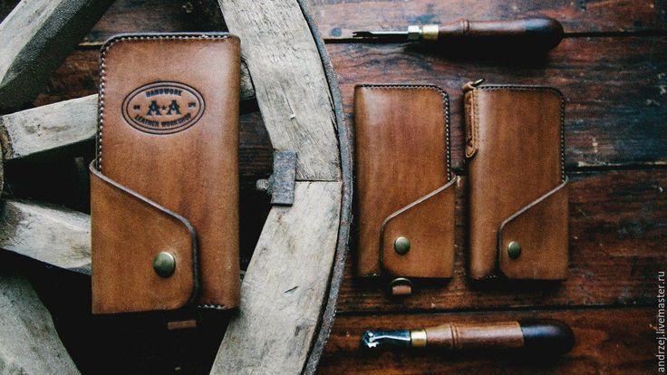 Купить Мужской бумажник , ручной работы - коричневый, однотонный, мужской подарок, бумажник ручной работы