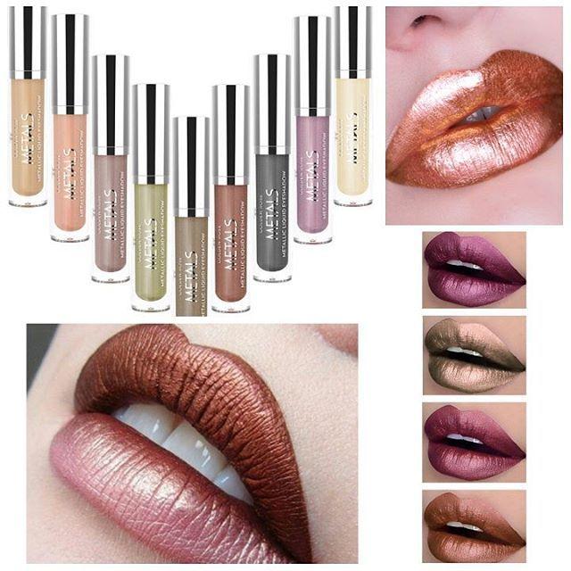 Golden Rose Matals Liquid رژ لب و سایه مایع متال گلدن رز این محصول دوکاربره با رنگبندی جذاب هم بعنوان رژ لب و هم سایه چشم کاربرد داره Lipstick Make Up