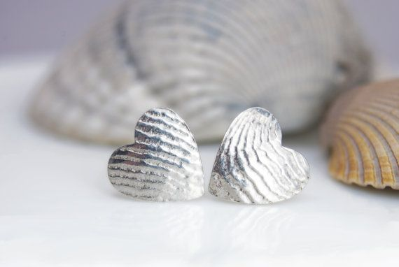 cuttlefish cast heart stud earrings in sterling by AnnealedHeart, $42.00