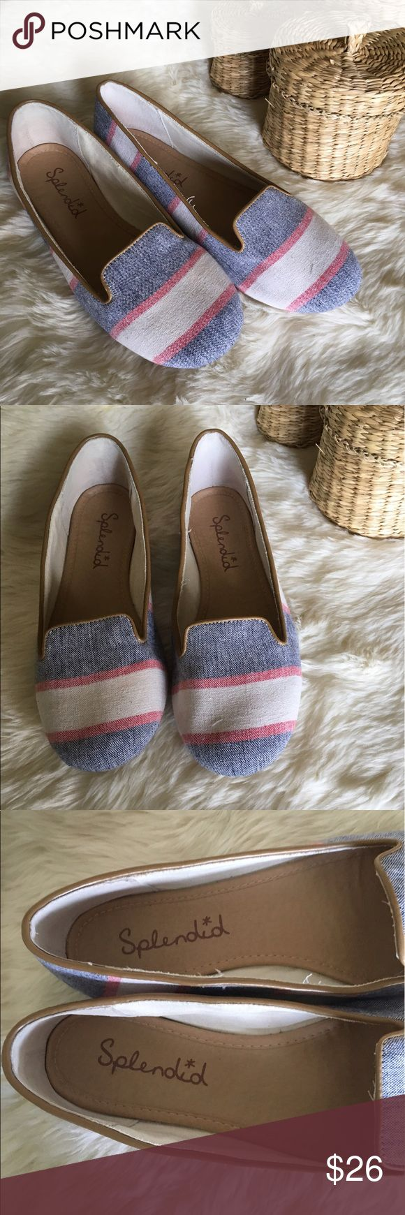 🌸Splendid Preopy Striped Loafer Flats🌸 Super cute striped loafer look flats by Splendid. These are absolutely adorable!! There's a small yellow mark on the inside of the right shoe, and they do run on the smaller side of 7. As always, comment with any questions!! Splendid Shoes Flats & Loafers